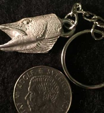 Gäddhuvud ögla bak nyckelring articart örjansfiske