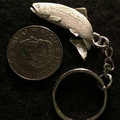 hoppande öring nyckelring articart örjansfiske