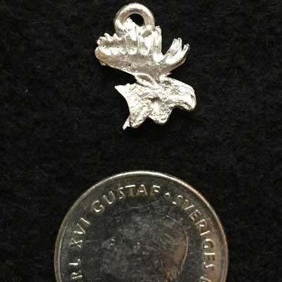 Litet älghuvud smycke i tenn articart örjans fiske