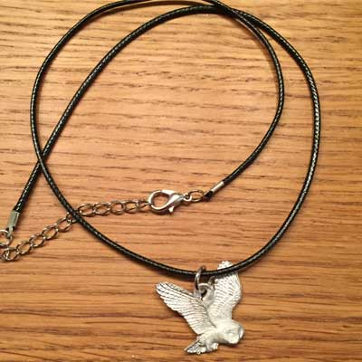 halsband flygande uggla tennsmycke arcticart arcticarts articart örjansfiske