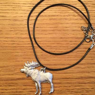 halsband stående älg stor tennsmycke arcticart arcticarts articart