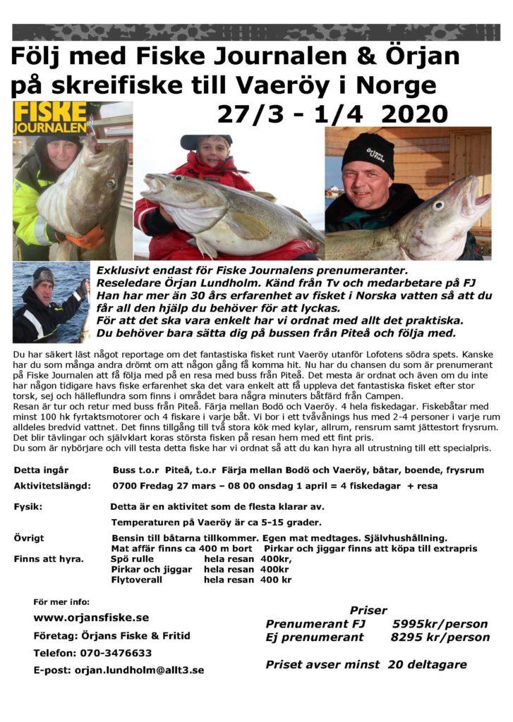 fiskeresa med buss örjans fiske skrei mars-april 2020