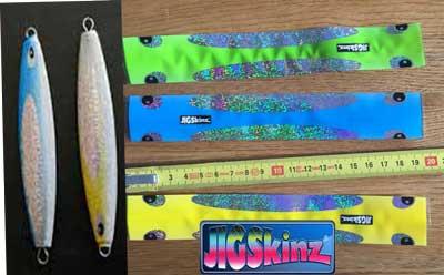 jigskinz holografisk blå grön gul Örjans Fiske Piteå
