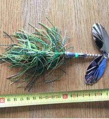 jättespinnare med dubbla stora skedar grön camo Örjansfiske Piteå