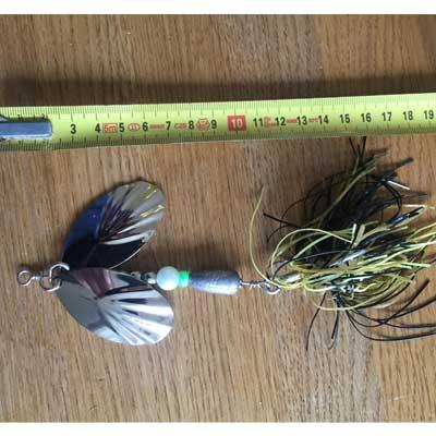 jättespinnare med dubbla stora skedar svart/gul Örjansfiske Piteå