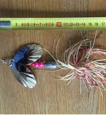 jättespinnare silver/röd dubbla spinnarskedar örjansfiske piteå